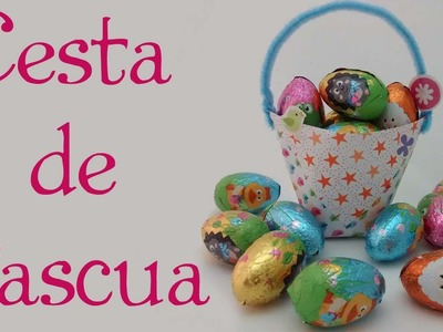 Cesta de Pascua. En 2 min, súper fácil, con papel. Easter basket. In 2 min, super easy, with paper.