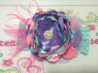 Flor de tela de razo  en capas de colores VIDEO No. 258