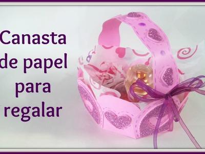 Canasta de papel para regalar |regalo para mamá | fácil y original