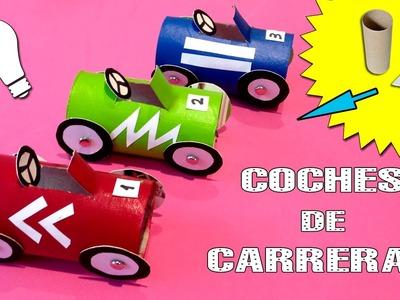 COCHES DE CARRERAS de cartón * Reciclaje con tubos de papel
