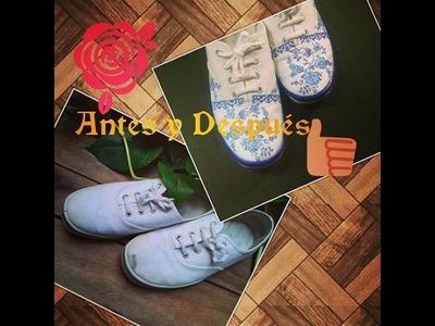 Como customizar.reciclar tus zapatillas (tenis) muy facil!-DelCarmenArtesanal