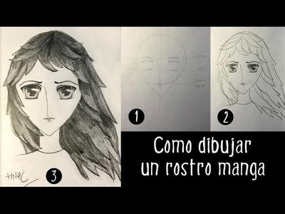 Como dibujar un rostro manga de niña o mujer