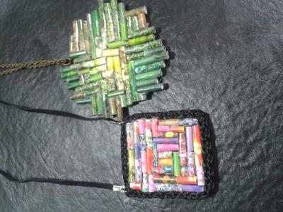 Como hacer medallones de papel para collares.Recycled