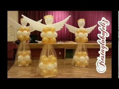 Como hacer un ángel grande con globos paso a paso