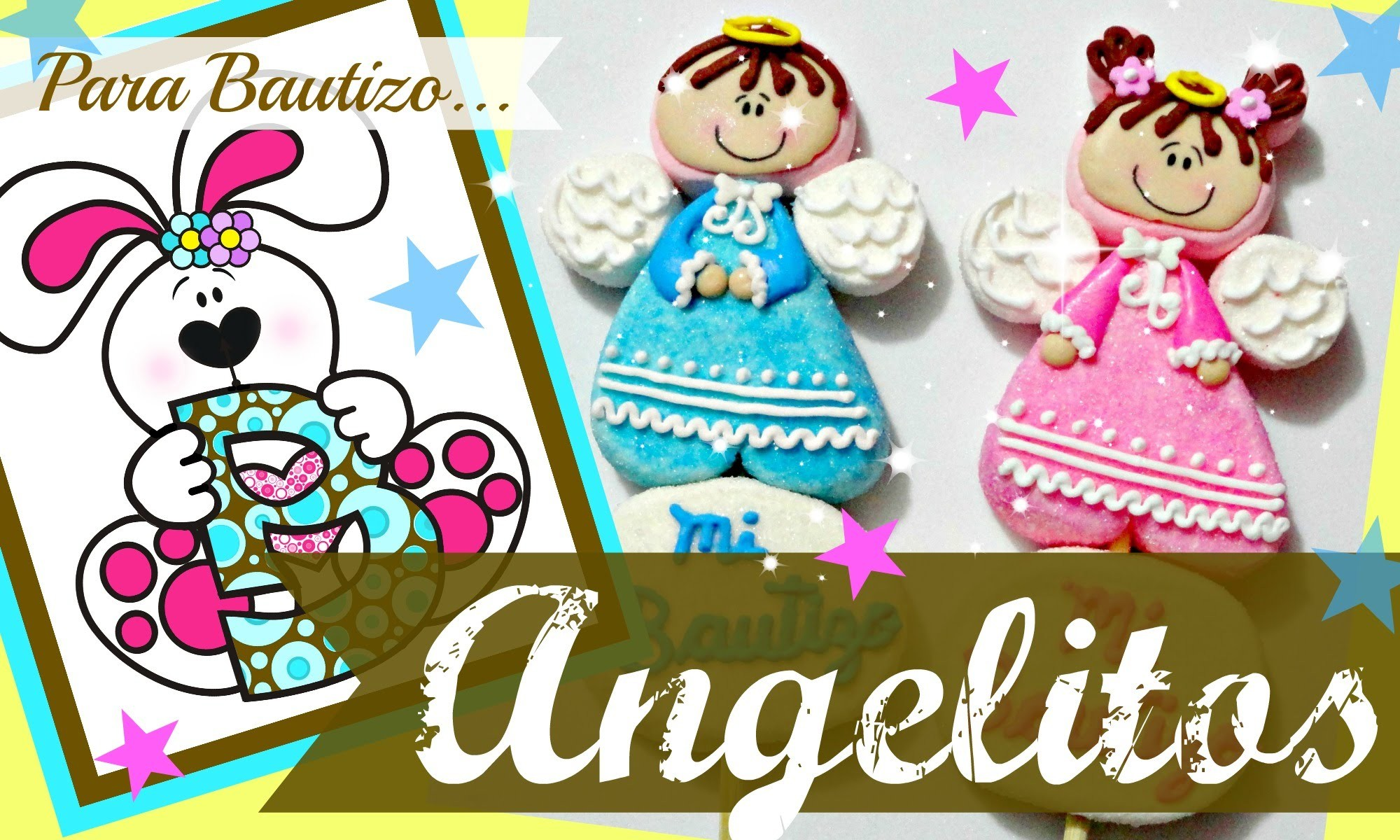 Como hacer unos tiernos angelitos de bombón para bautizo - How to make a marshmallow little angels