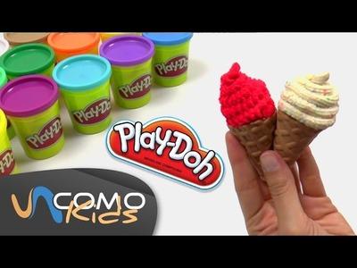 Hacer conos de helado con plastilina