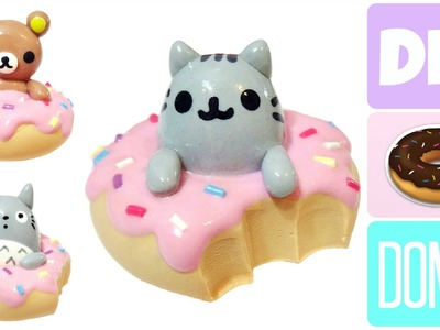 Manualidades Kawaii Donas Rilakumma, Pusheen y Totoro | Arcilla Polimerica o Porcelana Fria |