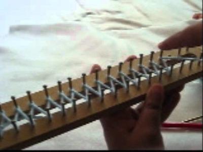 Montando los puntos en telar rectangular
