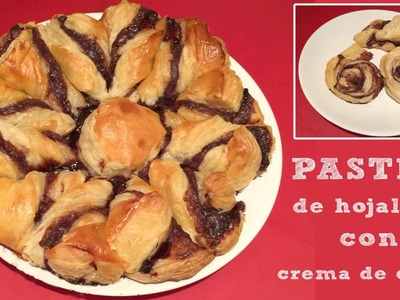 Pastel de hojaldre con crema de cacao (nutella o nocilla)