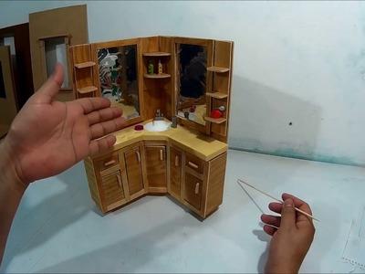 Como hacer un mueble tocador de baño para muñecas. Parte 1