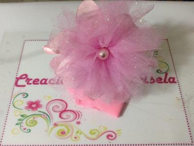 Diadema con flor de tela y tul Creaciones Rosa Isela VIDEO 248