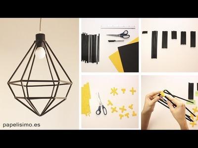 Lámpara hecha a mano DIY con pajitas