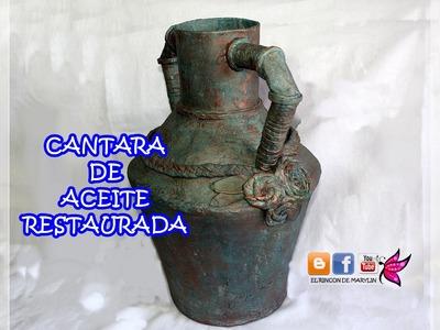 Restaurar cantara de aceite con papel mache -  Restore vase with paper mache