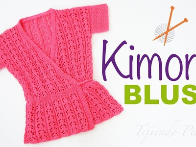 Blusa modelo kimono tejido en dos agujas, paso a paso!