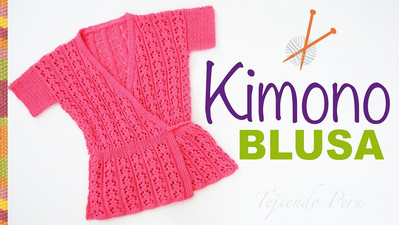Blusa modelo kimono tejido en dos agujas paso a paso - Tejidos en dos agujas paso a paso ...