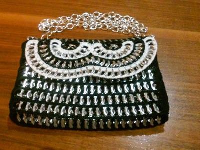 Como hacer un bolso de fiesta con anillas de lata BOLSO BLACK & WHITE 1