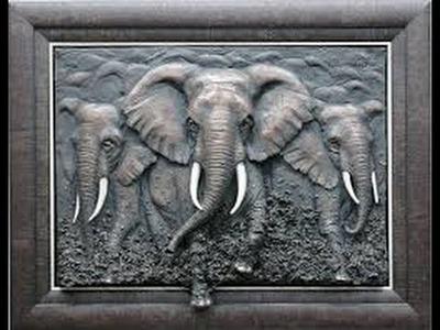 Elefante en cuadro - como hacer cuadro de relieve de elefante