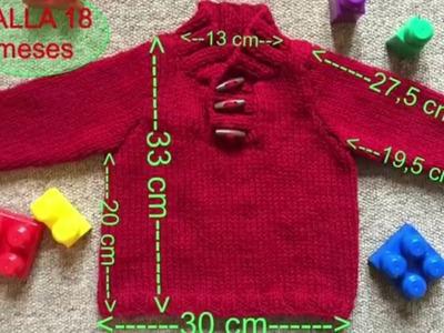 Fácil Jersey punto para bebe 18 meses a dos agujas o agujas circulares