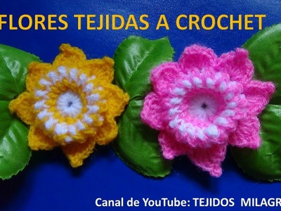 Flor tejida a crochet # 5 paso a paso en español