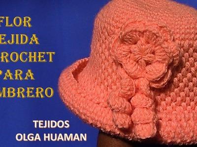 Flor tejido a crochet para sombrero