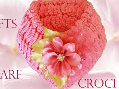 Haz fácil y rápido una linda bufanda de cuello corto  - Make quick and easy Knitting scarf crochet