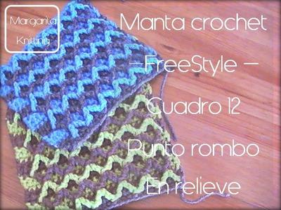 Manta a crochet FreeStyle cuadro 12: punto rombo en relieve (zurdo)
