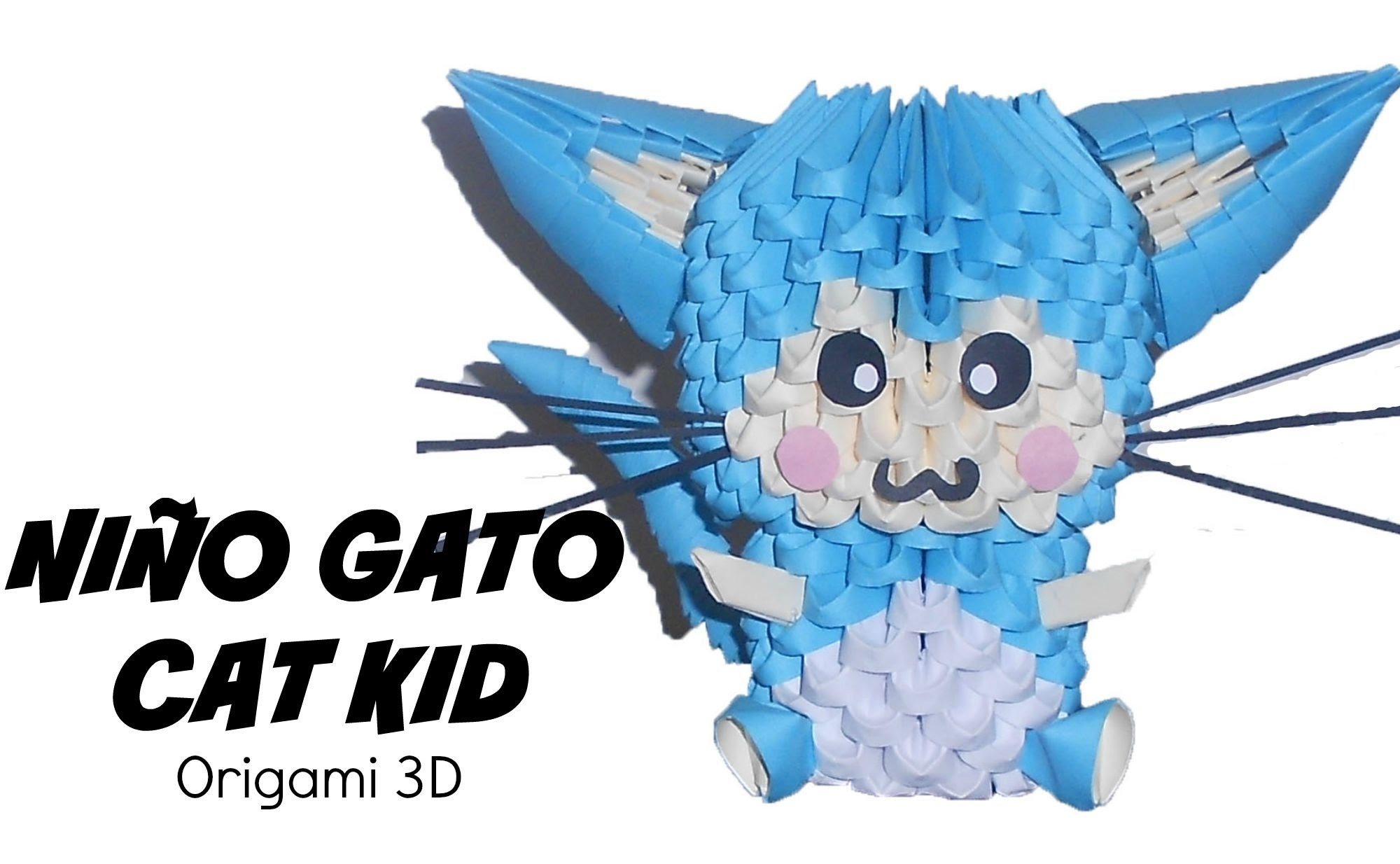 Niño gato - cat kid en origami 3D
