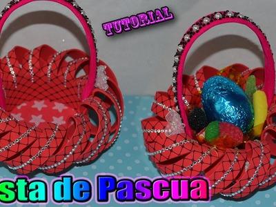♥ Tutorial: Cesta o Canastita de Pascua hecha de Goma Eva. Foamy || Easter Basket ♥