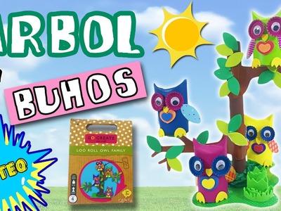 ÁRBOL y BÚHOS de cartón y SORTEO * Manualidades infantiles RECICLAJE