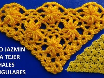 Chal tejido a crochet # 3 paso a paso en punto jazmin - SHAWL crocheting