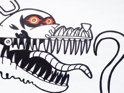 Como dibujar a nightmare foxy de five nights at freddy's | how to draw foxy nightmare