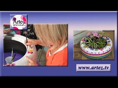 Cómo reciclar una cubierta en colorido macetero