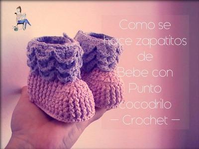 Como se hacen los zapatitos de bebe con punto cocodrilo a crochet (zurdo)
