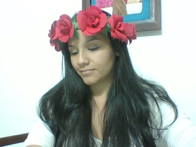 Flores en foami, corona de flores, corona de flores en foami