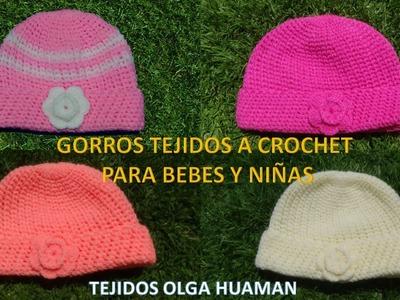 Gorros tejidos a crochet para bebes y niñas paso a paso
