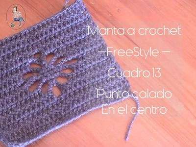 Manta a crochet Freestyle cuadro 13: punto calado en el centro (zurdo)