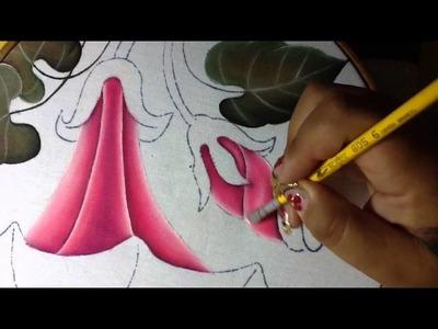 Pintura en tela niño en flor # 4 con cony