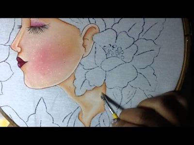 Pintura en tela rostro con flores # 2 con cony
