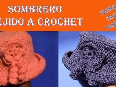 Sombrero con Flor tejido a crochet para cualquier edad