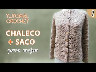 TUTORIAL chaleco y saco para mujer tejidos a crochet (2 de 3)