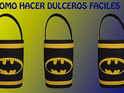 COMO HACER DULCEROS DE BATMAN.COTILLONES  DE BATMAN EN FOAMI