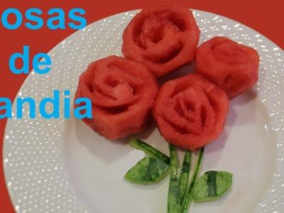 Cómo hacer rosas de sandia. Watermelon roses