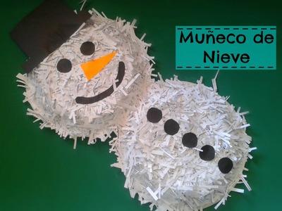 Como hacer un muñeco de nieve con platos descartables - Manulidades navideñas