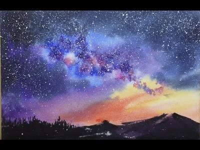 Cómo pintar una galaxia realista con acuarelas.