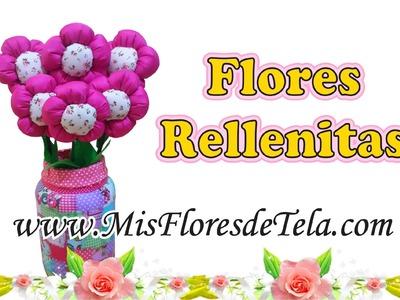 Flores de tela rellenas paso a paso - Flores Gorditas o rellenitas de tela Tutorial
