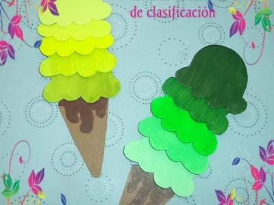 Material didáctico para ordenar tonos de colores