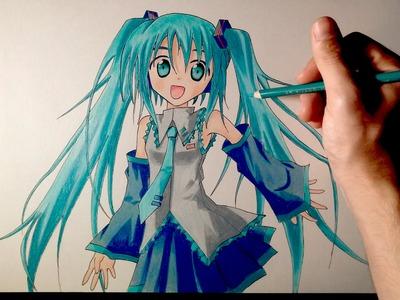Cómo dibujar a Hatsune Miku con lápices de colores | Tutorial
