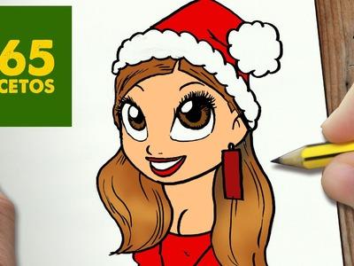 COMO DIBUJAR ARIANA GRANDE PARA NAVIDAD PASO A PASO: Dibujos kawaii navideños - draw Ariana Grande