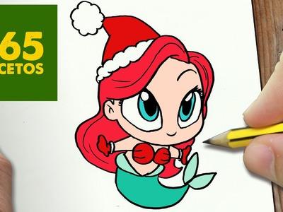 COMO DIBUJAR ARIEL PARA NAVIDAD PASO A PASO: Dibujos kawaii navideños - How to draw a Ariel
