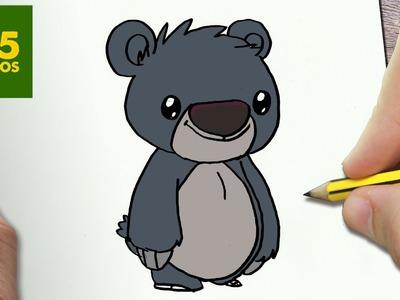 COMO DIBUJAR BALOO KAWAII PASO A PASO - Dibujos kawaii faciles - How to draw a Baloo
